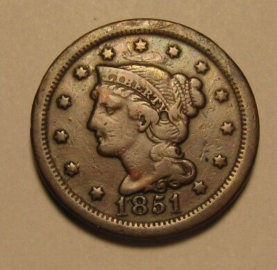 1851 Braided Hair Large Cent Penny - Very to Extra Fine Condition - 196SA