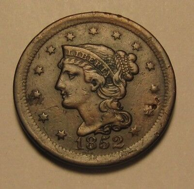 1852 Braided Hair Large Cent Penny - Extra Fine to AU Condition - 197SA