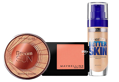 Maybelline Set Make Up Sun Beige 30ml+ Master Blush Peach Pop 5g + Bronzer 16g