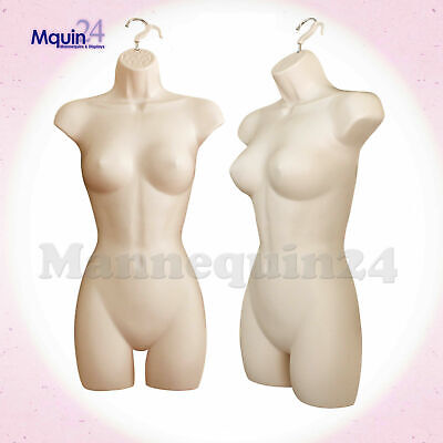 One Female Torso Mannequin - Flesh Women Hanging Dress Body Form