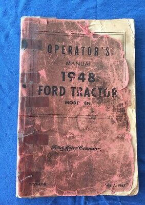 Vintage 1947 Ford Model 8N Tractor Owner's Manual