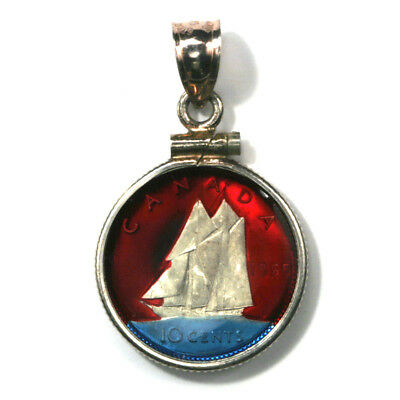 Canada Enameled Jewelry Coin Pendant Sailboat Silver Dime 1965  with Bezel