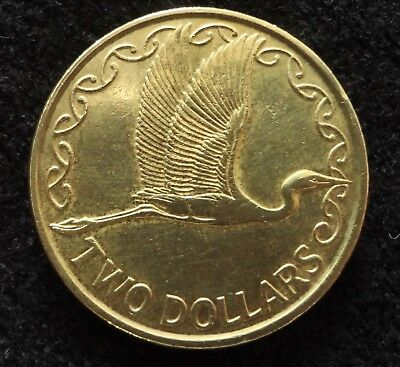 New Zealand 1990 Two Dollars $2 Coin Great Egret