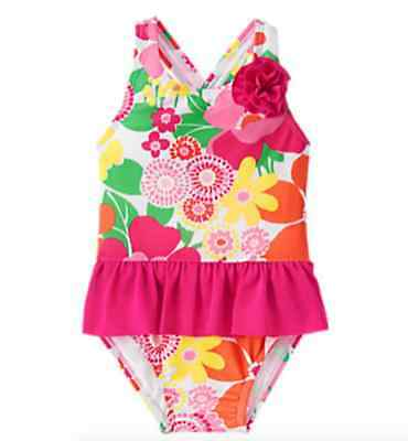 *nwt* Gymboree Little Girls Size 2T Swim Shop Colorful Floral Print 1Pc Swimsuit