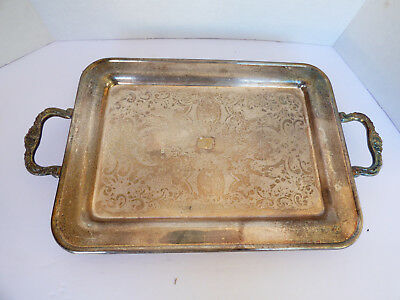 "VTG Silver Plated  13.5""x9.5"" small Serving decor Tray floral scroll pattern"