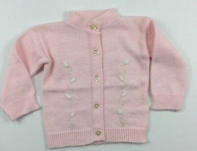 Vintage NB 0-3 Months Infant soft Pink Cardigan Sweater
