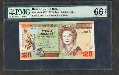 WOW 1997 BELIZE CENTRAL BANK 20 DOLLARS PCK #63a  PMG 66 PLEASE LQQK!
