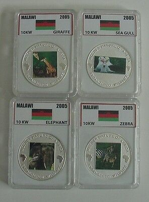 2004 Malawi Nature of Africa Giraffe, Sea Gull, Zebra & Elephant 10 Kwacha Coins