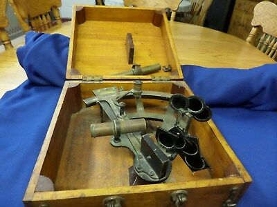 Very Old Sextant From Machias Maine In Original Wooden Box