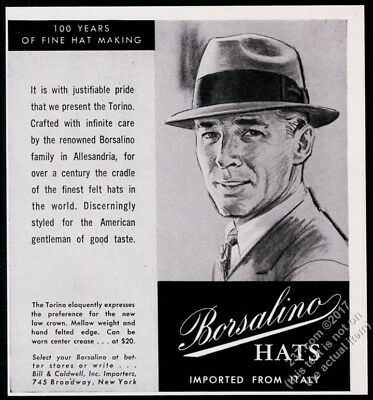 1958 Borsalino Torino man's hat illustrated vintage print ad