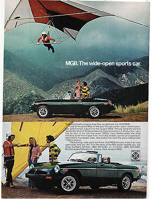 Original Print Ad-1976 MGB The Wide-Open Sports Car-Hang Glider Over Mountains