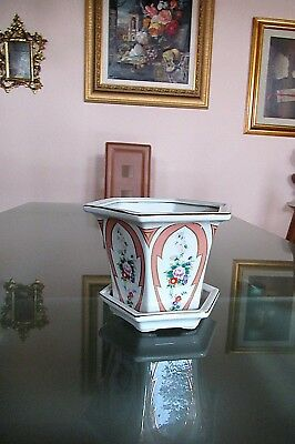 Vtg Antique French Porcelain Footed Hp Gilded Cache Pot Planter W Underplate