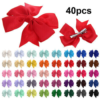 40PCS  Baby Bow Hair Clip Alligator Clips Girls Ribbon Kids Sides Accessories
