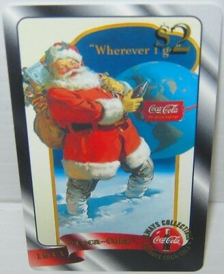 RARE GOLD $2 Parallel chase Coca Cola Phone Card #17 Sprint US 1996 COKE Santa