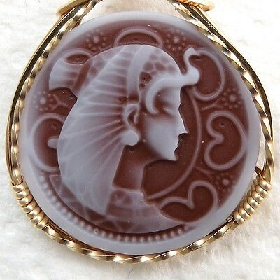 Egyptian Queen Cleopatra Cameo Pendant 14K Rolled Gold Wire Jewelry Brown Resin