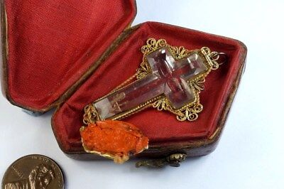 SCARCE ANTIQUE SILVER ROCK CRYSTAL 'TRUE CROSS' RELIC / RELIQUARY c1770