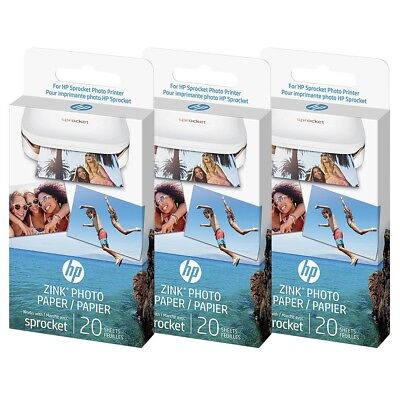 """60 Sheets HP Sprocket ZINK Sticky Backed Photo Paper 2""""x3"""" for Sprocket Printers"""