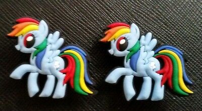 2 x My Little Pony Rainbow Dash Croc Shoe Charms Jibbitz Crocs Wristbands
