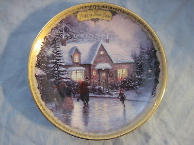 Thomas Kinkade Simpler Times NEW YEAR'S DAY: SKATERS ON THE POND Calendar Plate