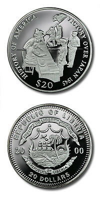 Liberia History of America Victory Over Japan $20 2000 Proof Silver Crown KM-714