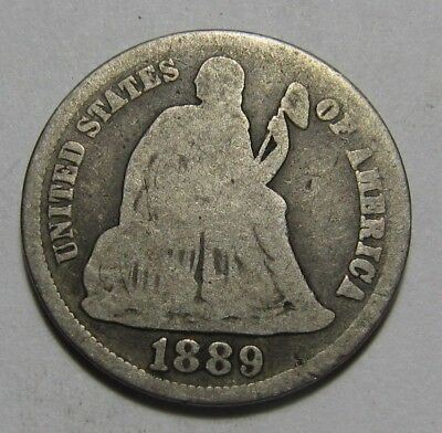 1889 S Seated Liberty Dime - Good + Condition - 125SU