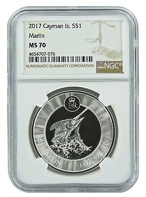 2017 Cayman Islands Marlin 1oz Silver Coin NGC MS70 - Brown Label