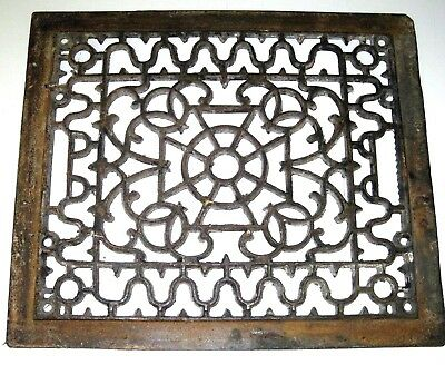 "ANTIQUE Vintage ORNATE CAST IRON REGISTER HEAT VENT FLOOR GRATE 14.5"" x 11.5"""