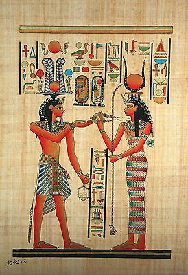 "Egyptian Papyrus - Hand Made - 16"" x 24"" Hathor Presenting Necklace to Ramses"