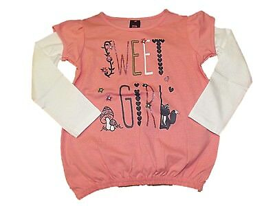 NEW GIRLS EX STORE SWEET GIRL L/S T-SHIRT TOP AGE 1 - 7 years Long Sleeved PINK