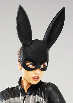 Womens Black Glitter Bunny Rabbit Eye Mask