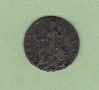 1775 Great Britain 1/2 Penny Copper Coin - George III