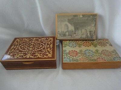 3/ Antique Vintage Small Wood Box's One With Inlay One From Istanbul One From ?