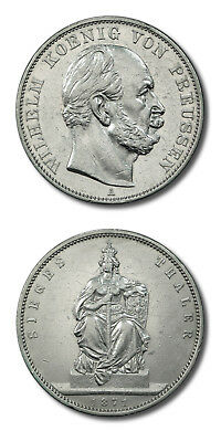 German States Prussia King Wilhelm Bust Thaler 1871 A Cleaned KM 500