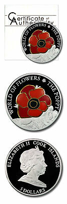 Cook Islands World of Flowers Poppy in Cloisonné $5 2009 Proof Silver Crown COA