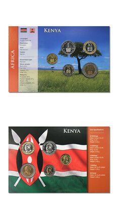 Kenya 5 Coin Type Set 50¢, 1, 5, 10, 20, Shilling BU