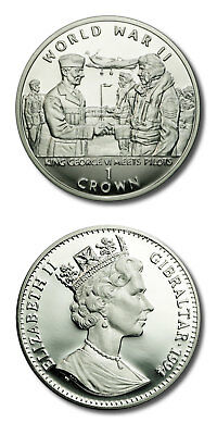 Gibraltar World War II King George VI Meets Pilots 1 Crown 1994 Proof Silver