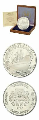 Singapore Ship Ocean Freighter $10 1977 Proof Silver Crown Wood Mint Box & COA