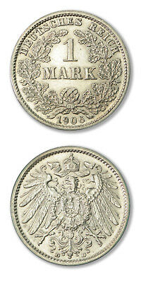 German Empire Imperial Coinage 1 Mark 1906 D Silver Coin AU -KM-14