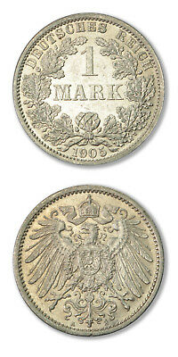 German Empire Imperial Coinage 1 Mark 1905 D Silver Coin UNC -KM-14
