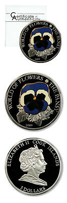 Cook Islands World of Flowers Pansy Cloisonne $5 2009 Proof Silver Crown COA
