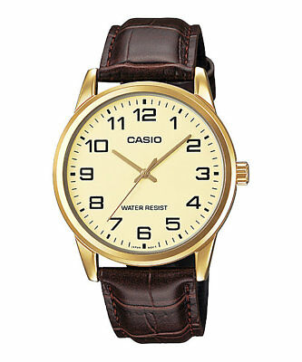 """NEW Casio MTPV001GL-9B Men's BROWN LEATHER Watch GOLD tone """"EASY-READER"""" Dial"""