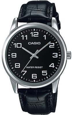 """Casio MTP-V001L-1B Men's BLACK Leather NEW Watch """"EASY-READER"""" Dial SILVER tone"""
