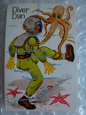 dIVER DAN OLD MAID REPLACEMENT SINGLE SWAP GAME PLAYING CARD VTG 1970'S neocurio