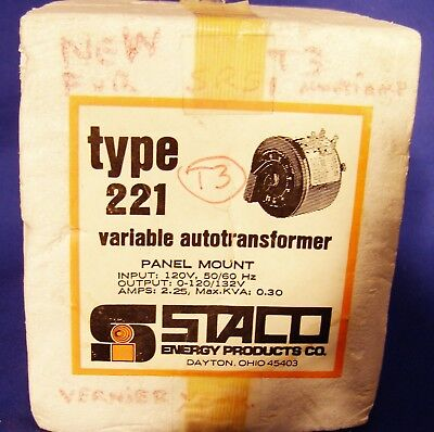 Staco Variac 0/120 Volt To 120/132 Volt 2.25 Amp New Old Stock .made In The Usa.