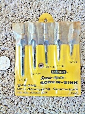 Stanley 5 Pc Screw-Sink Countersink Counterbore Drill Bit Set  Made In Usa