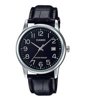 "NEW Casio MTP-V002L-1B Men's Analog Watch BLACK Leather Band Date ""EASY-READER"""