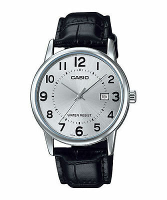 NEW Casio MTP-v002L-7B Men's Analog Watch BLACK Leather Band SILVER Date Display