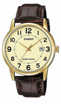 """NEW Casio MTP-V002GL-9B Men's Analog Watch Date """"EASY-READER"""" BROWN Leather GOLD"""