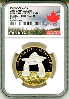 2016 Canada S$1 Iconic Canada Inukshuk Reverse Gold Plated FR NGC PF70 UC