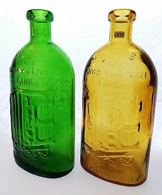 Frank's Safe Kidney and Liver Cure, Rochester, NY - Wheaton NJ Glass - Lot of 2